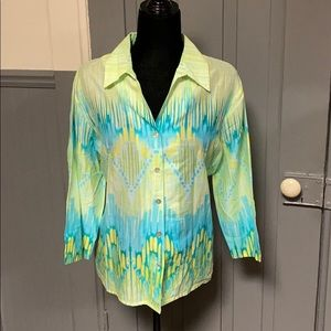 Alfred Dunner Printed Button Down Shirt